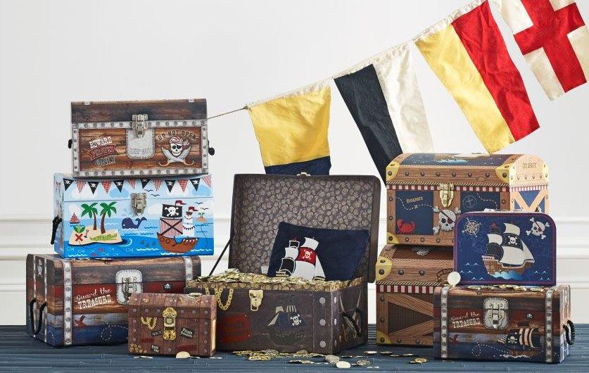 Little Boys Pirate Storage Boxes Set Of 3 Toy Box For Boys Bedroom Pirate  Treasure Chest Storage